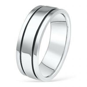 Ring mit oxidierten Linien 925er Silber