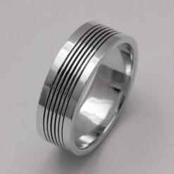 Silber Ring Schlicht mit oxidierter Linie Massiv Echt 925 Sterling Hochglanz