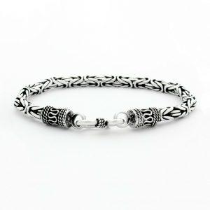 Königsarmband Rund 4 mm Oxidiert Massiv Echt 925 Sterling Armband