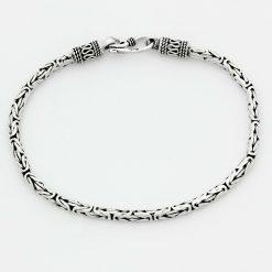 Königsarmband Rund 3 mm Oxidiert Massiv Echt 925 Sterling Armband