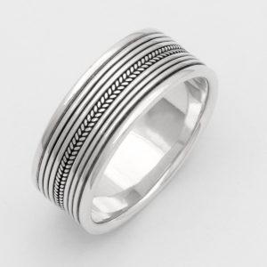 Ring 925 Sterling Silber Verziert Muster Oxidiert Massiv Poliert Damen Herren