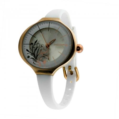 Hoops Damen Uhr Weiß mit Blumenmuster