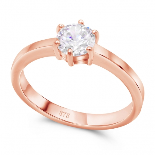 Solitär Verlobungs Ring 375er Rose Gold