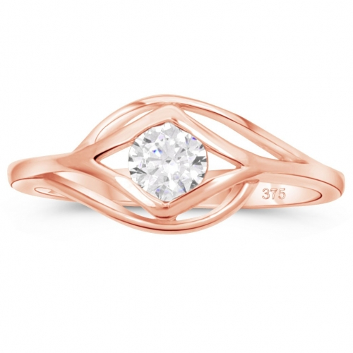 Solitär Ring 375 Rose Gold