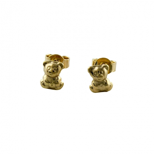 Teddy Bär Ohrstecker 585er Gelbgold