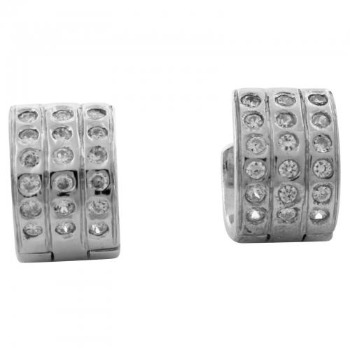 Creolen 925er Silber Zirkonia Stein Weiß