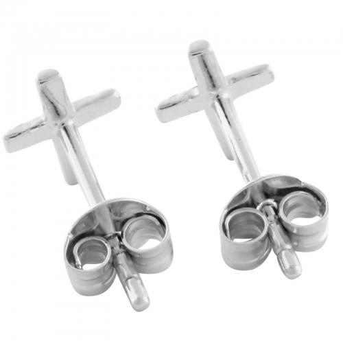 Kreuz Ohrstecker Ohrringe 925er Silber Rhodiniert