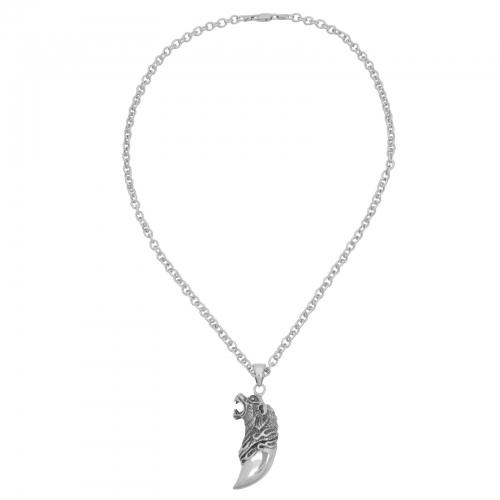 Wolfszahn Wolf Kopf Anhänger 925 Sterling Silber Oxidert Halskette Anerkette