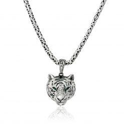 Tiger Kopf 925 Sterling Silber Anhänger mit Grünen Augen Halskette Oxidiert