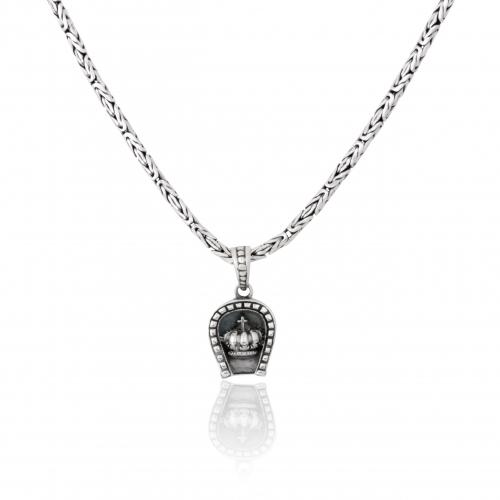 Kronen Anhänger 925 Sterling Silber Oxidiert König Halskette Damen Herren