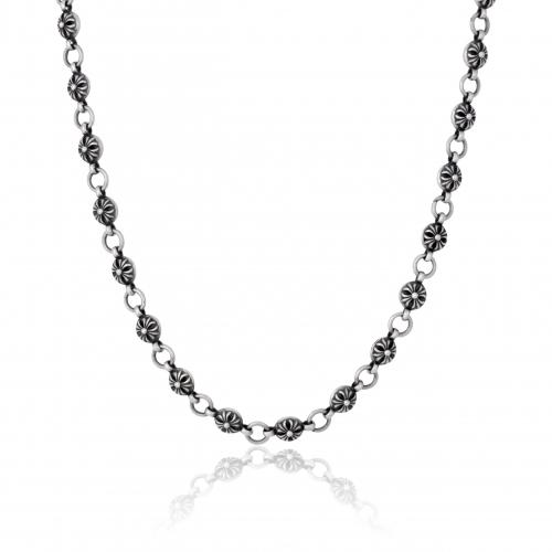 Halskette 925 Sterling Silber Oxidiert Rund Blumen Stempel Silberkette
