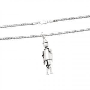 Pinnochio Anhänger 925 Sterling Silber mit Halskette Oxidiert Poliert