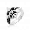 Ring mit Lilie 925 Sterling Silber Zirkonia Stein Schwarz Oxidiert Herren