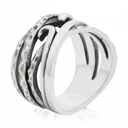 Ring mit Schlange Muster 925 Sterling Silber Oxidiert Herren Gestempelt Poliert