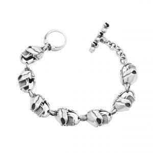 Totenkopf Herren Armband 925 Sterling Silber Oxidiert Schädel Gothic Skull