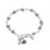 Lilien Armband 925 Sterling Silber Oxidiert Kreuz Krone Totenkopf Damen Stempel