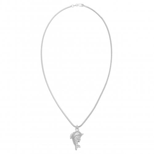 Delphin Anhänger 925 Sterling Silber mit Zirkonia Damen Schlangen Halskette
