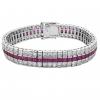 Damen Armband mit Zirkonia Stein 925 Sterling Silber Weiß Violett Amethyst