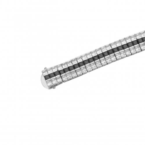 Silber Armband mit Zirkonia Weiß Schwarz 925 Sterling Silber Damen Amethyst