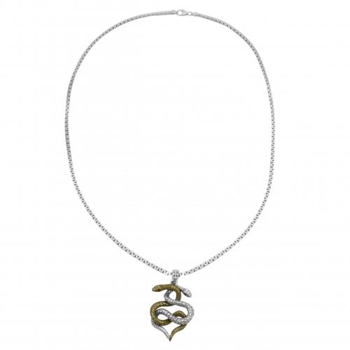 Schlange Herz Anhänger Vergoldet 925 Sterling Silber Halskette Oxidiert Auge Rot