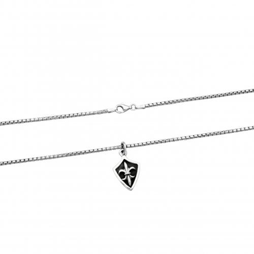 Lilien Anhänger 925 Sterling Silber Venezianerkette Halskette Fleur de Lis