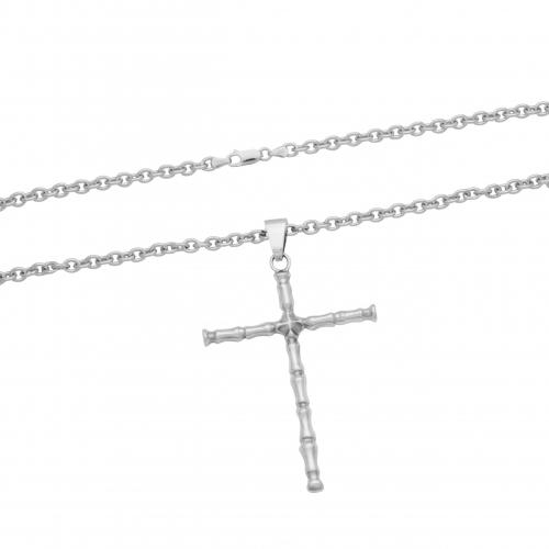 Kreuz Knochen Anhänger 925 Sterling Silber Oxidert Halskette Ankerkette