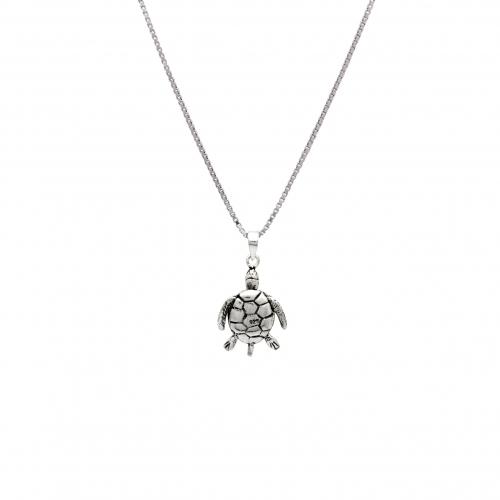 Schildkröte Anhänger 925 Sterling Silber Oxidert Halskette Venezianerkette