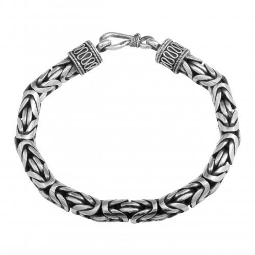 Königsarmband 7mm Rund 925 Sterling Silber Oxidiert Massiv Armband bis 26cm