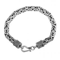 Königsarmband 8mm Rund 925 Sterling Silber Oxidiert Massiv Armband bis 26cm