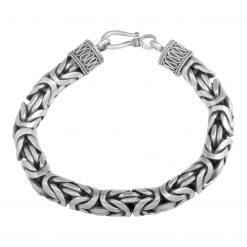 Königsarmband 10mm Rund 925 Sterling Silber Oxidiert Massiv Armband bis 26 cm