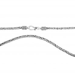 Königskette Rund Oxidiert 3mm Massiv 925 Sterling Silber Halskette