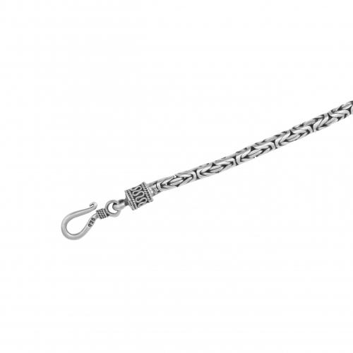 Königskette Rund Oxidiert 4mm Massiv 925 Silber Halskette