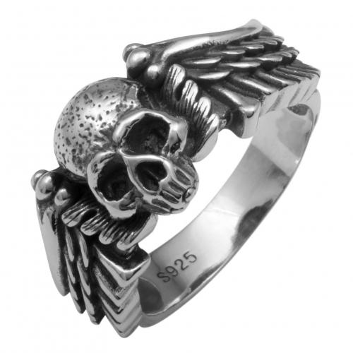 Totenkopf Ring mit Flügel 925 Sterling Silber