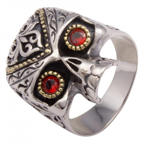 Totenkopf Ring mit roten Augen Vergoldet 925 Sterling Silber