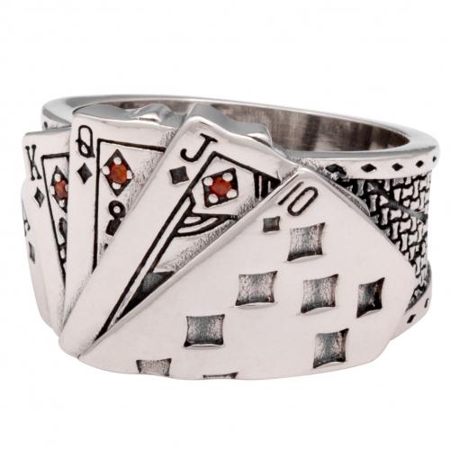 Karten Ring mit rotem Stein 925 Sterling Silber