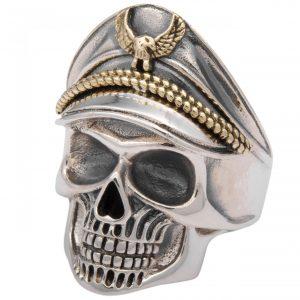 Totenkopf Ring mit Hut Vergoldet 925 Sterling Silber