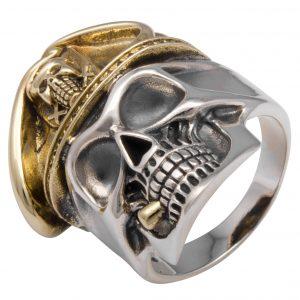 Totenkopf Ring mit Zigarre Vergoldet 925 Sterling Silber