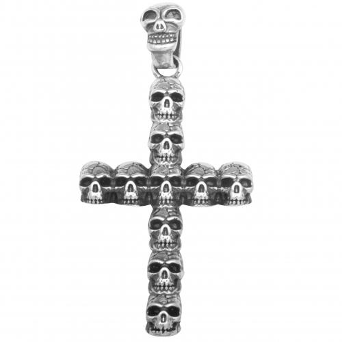 Totenkopf Kreuz Anhänger 925 Sterling Silber