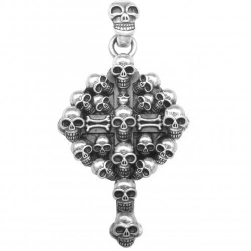 Totenkopf Medaillon Anhänger 925 Sterling Silber