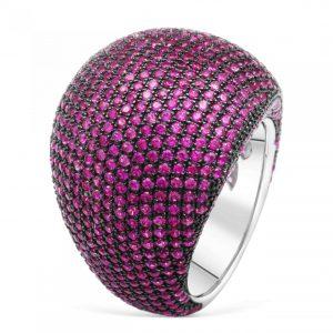 Silber Ring mit Lila Zirkonia Steinen