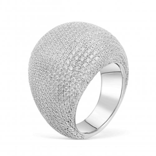 Silber Ring mit weißem Zirkonia Stein