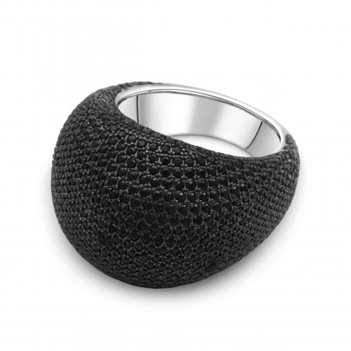 Silber Ring mit Schwarzen Zirkonia Stein