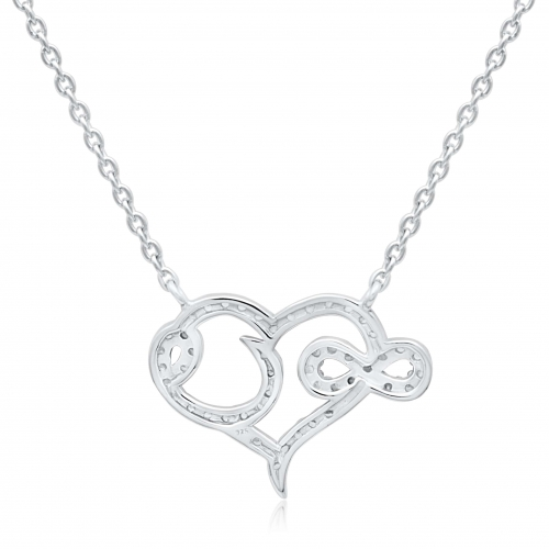 Silberkette Herz Unendlichkeit mit Zirkonia Steinen
