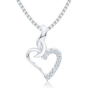 Silber Anhänger Herz mit Zirkonia Steinen