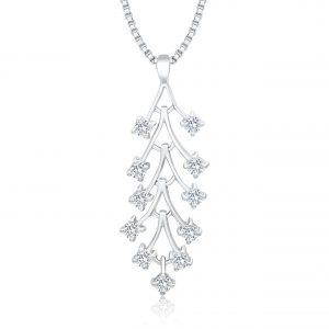Silber Kette Anhänger Blume mit Zirkonia Steinen
