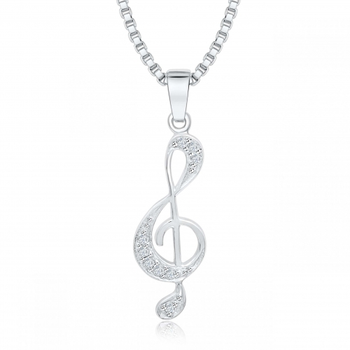 Silber Anhänger Notenschlüssel mit Zirkonia Stein