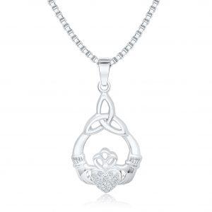 Silber Anhänger Herz Krone mit Zirkonia Stein
