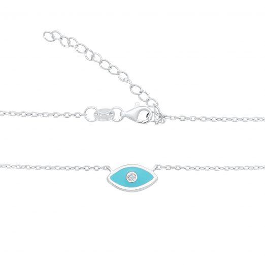Blaue Auge Kette 925 Sterling Silber
