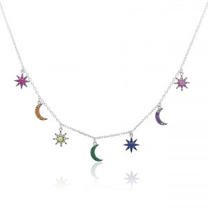 Sonne Mond Kette Echt 925 Sterling Silber