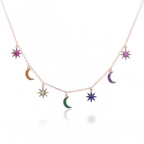 Sonne Mond Sterne Kette Rose Vergoldet